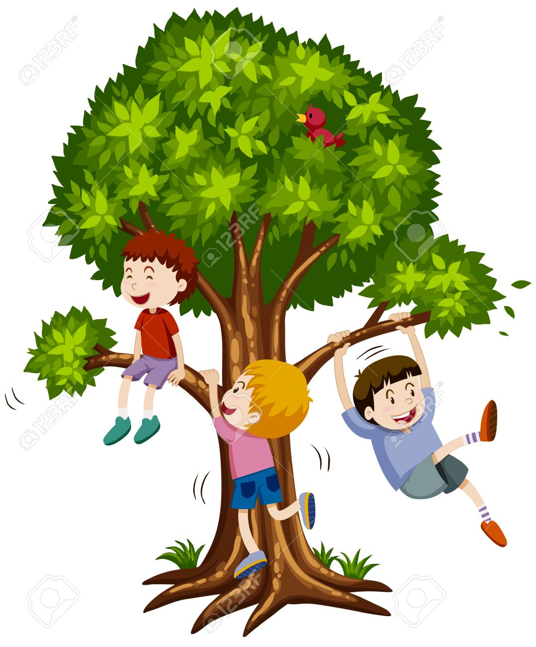 Three Boys Climbing The Tree Illustration Royalty Free Cliparts Vectors And Stock Illustration Image 52037635 Vector cartoon illustration of kids playng tree house on summer green landscape. three boys climbing the tree illustration