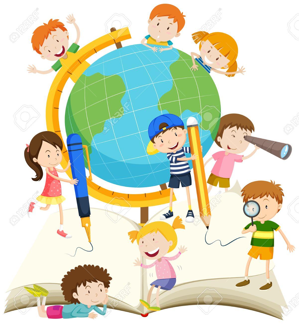Los Niños Escribiendo Y Leyendo La Ilustración De Libros ...