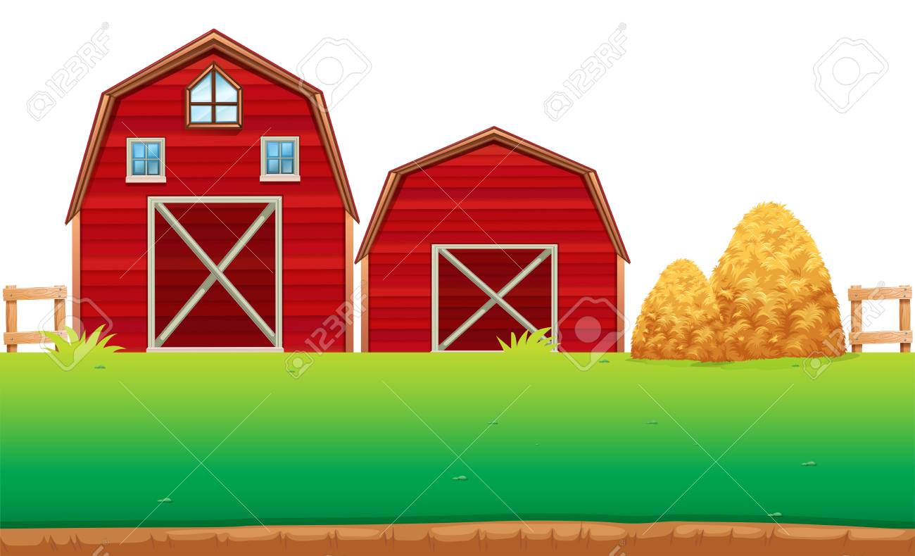 Red Barns On The Farm Illustration Stock Vector