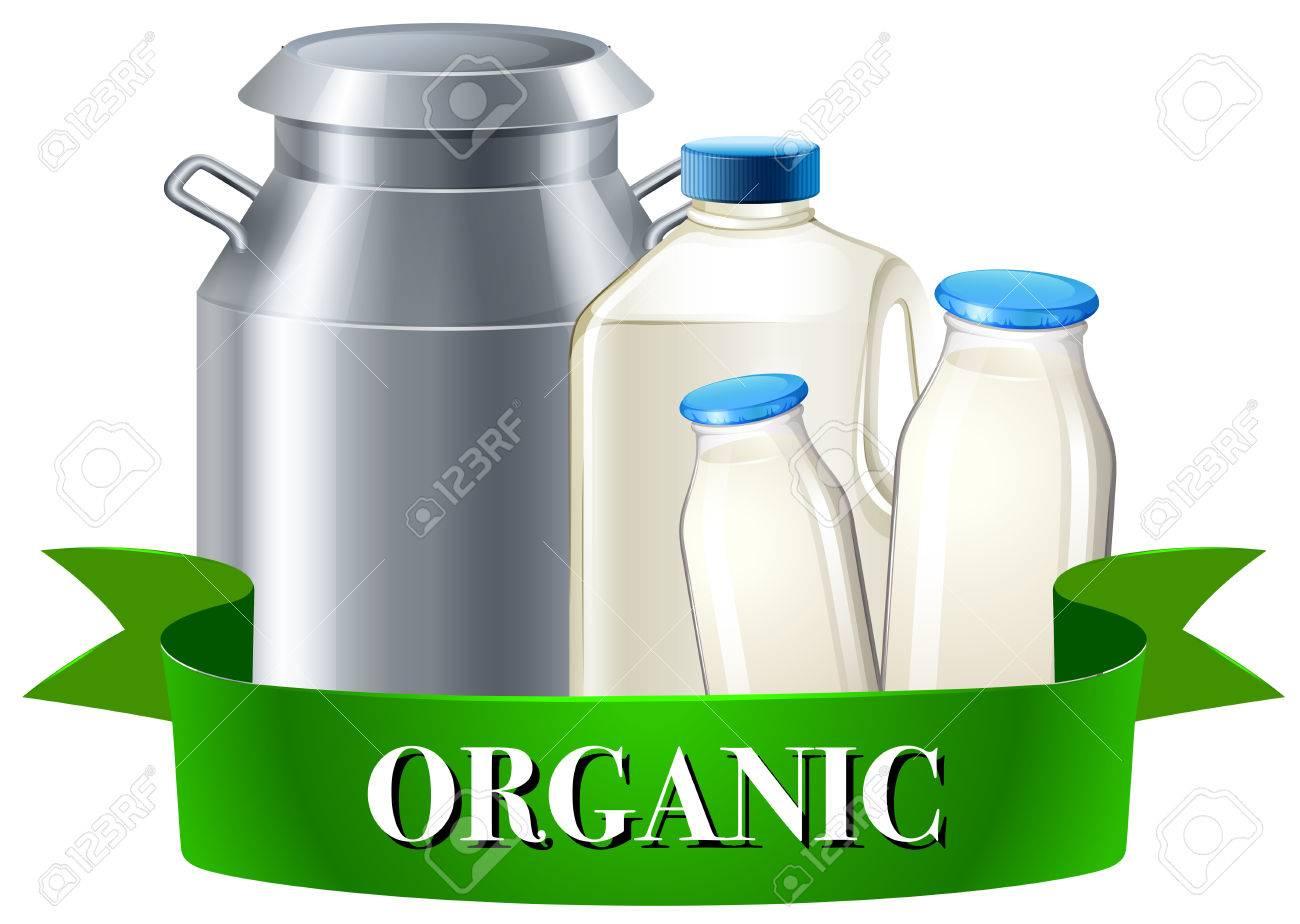 Fresh Organic Milk In Bottles Illustration Royalty Free Cliparts
