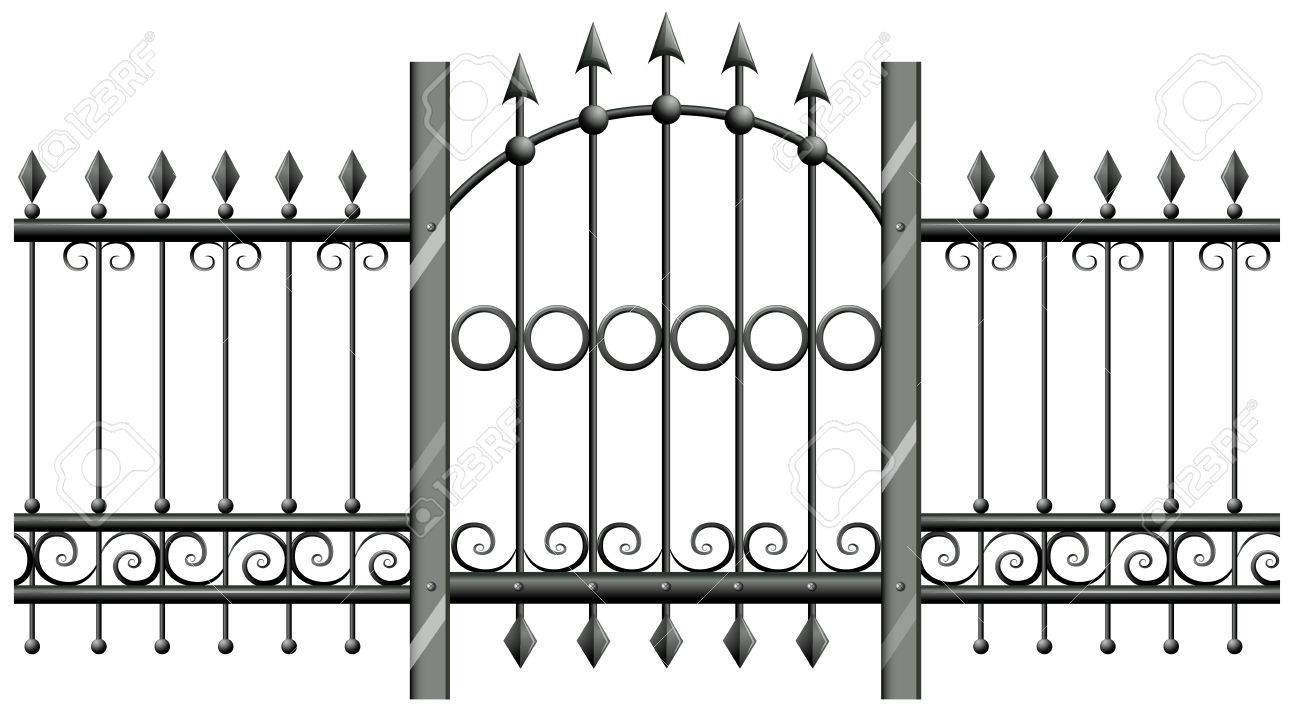 Nahtlose Metall-Zaun Mit Tür Illustration Lizenzfrei Nutzbare ...