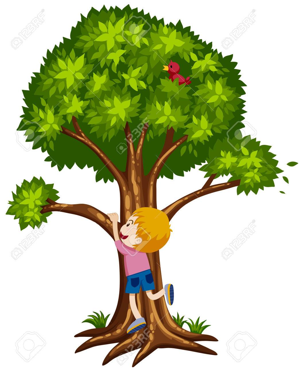 Little Boy Climbing Up The Tree Illustration Royalty Free Cliparts
