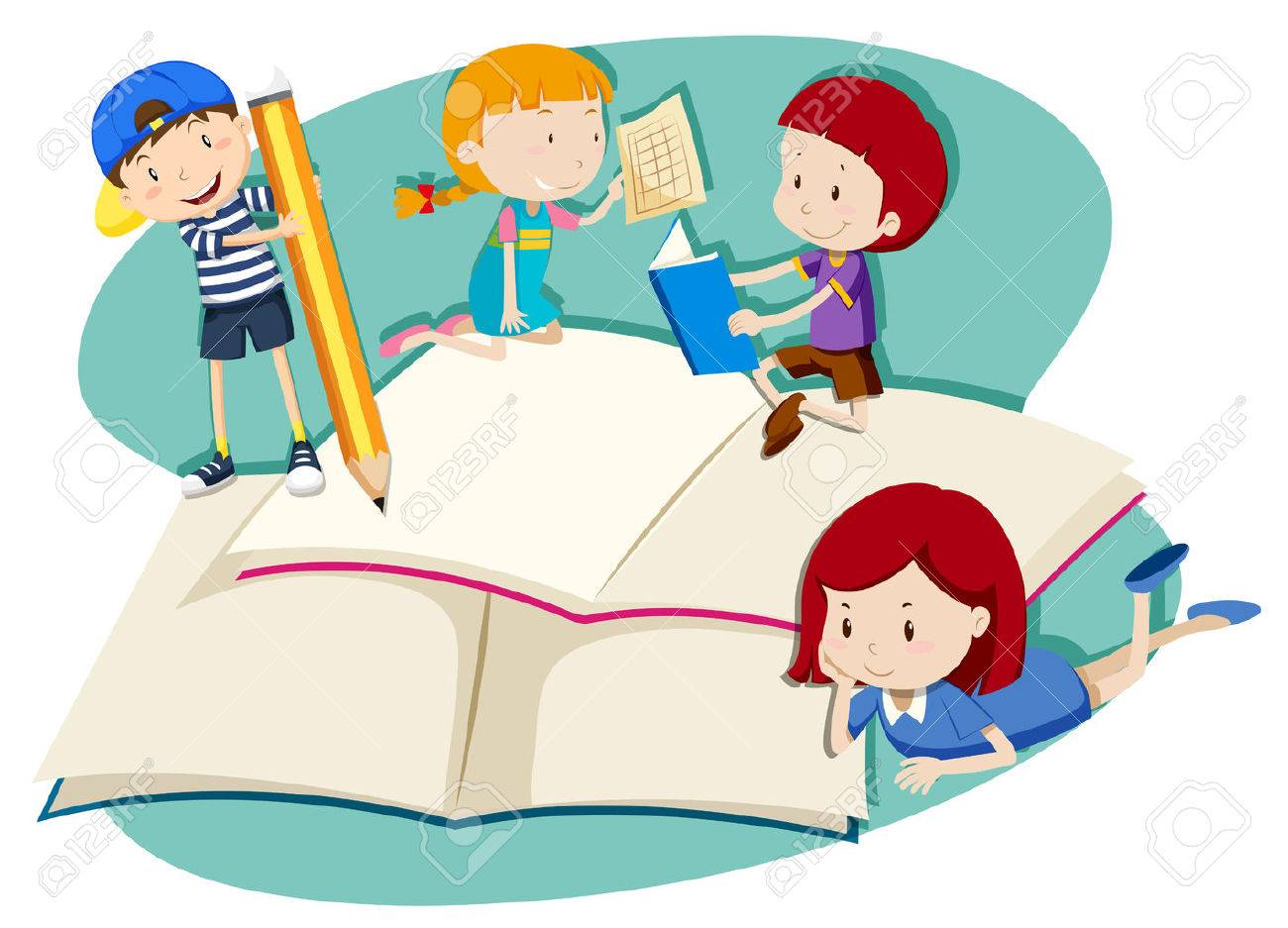 children writing and reading illustration royalty free cliparts