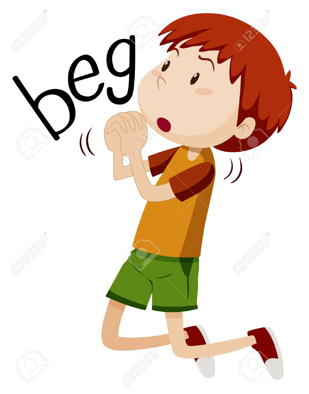 boy begging for something illustration royalty free cliparts