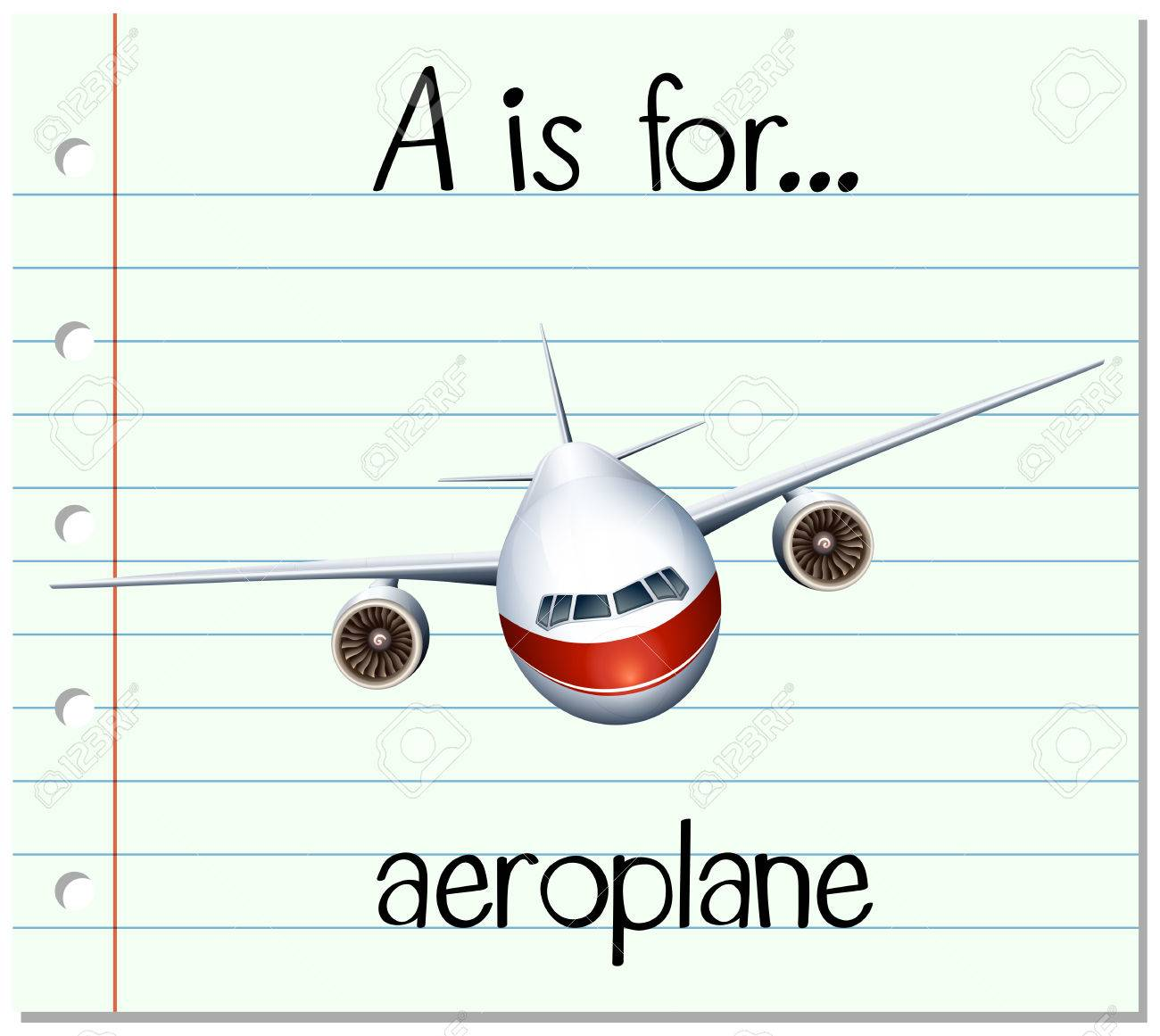 Flashcard letter A is for aeroplane illustration - 53059296