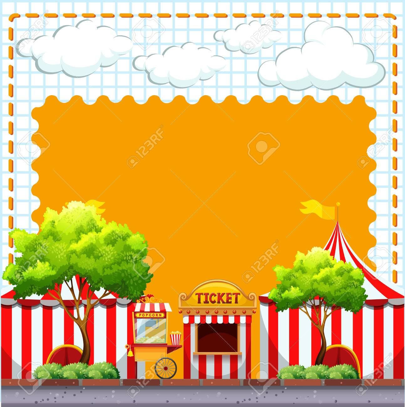 paper design with circus tents illustration royalty free cliparts