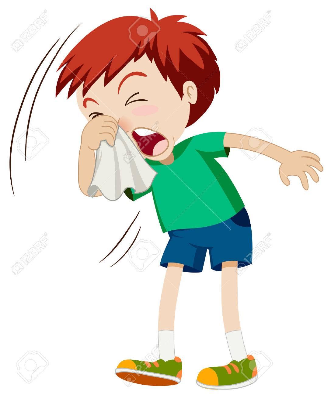 Little boy sneezing hard illustration - 53197380