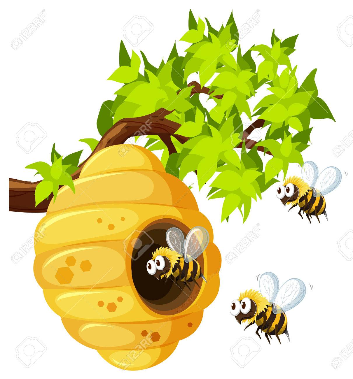 Bees Flying Around Beehive Illustration Royalty Free Cliparts ...