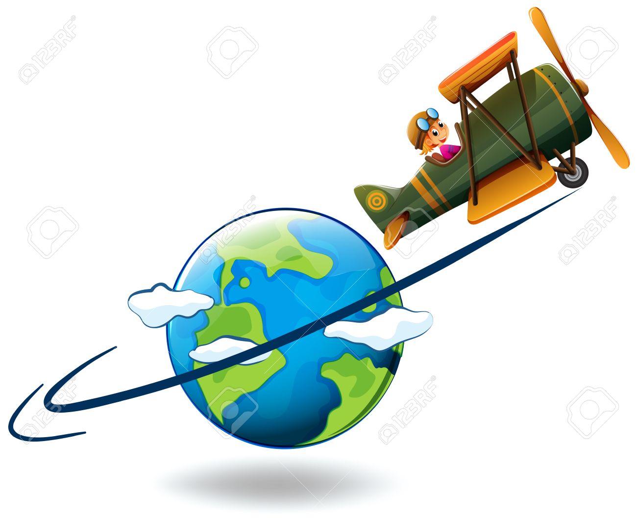 Girl Flying Aeroplane Around The World Illustration Royalty Free ...