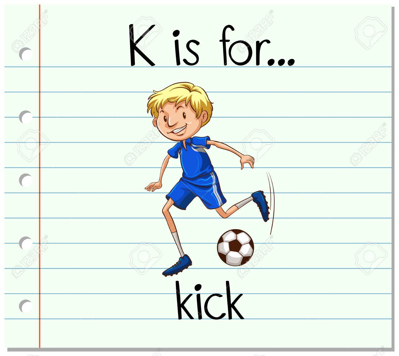Flashcard Letter K Is For Kick Illustration Stock Vector