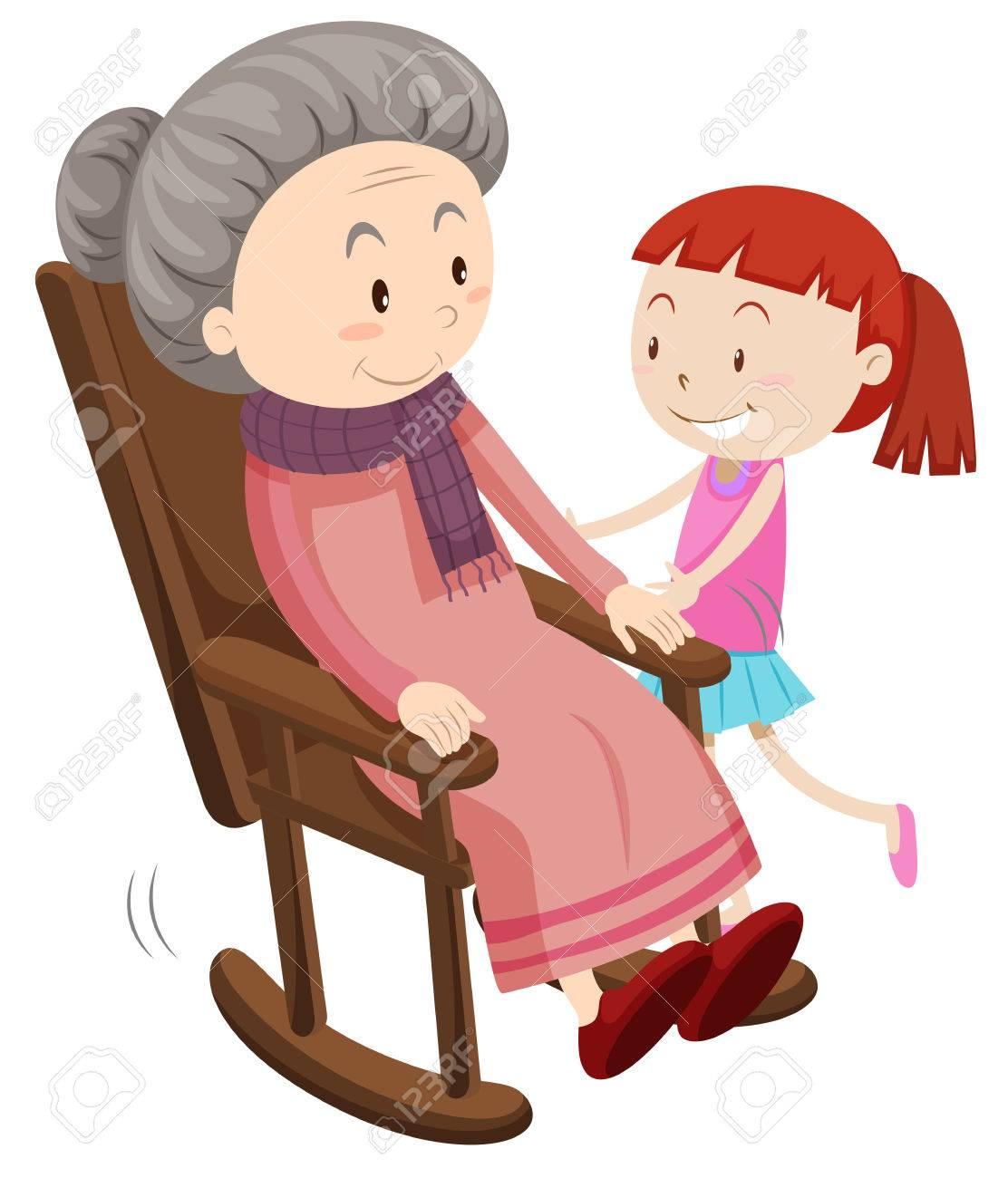 Grandmother on the rocking chair and girl illustration - 53749012