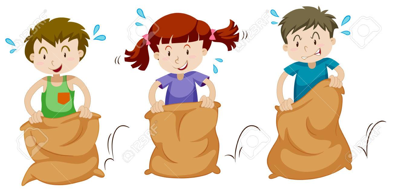 three children jumping in sacks illustration royalty free cliparts