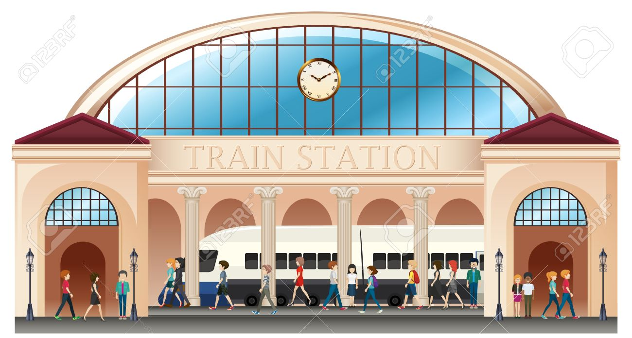 people at train station illustration royalty free cliparts vectors rh 123rf com Train Station Platform Train Station Signs