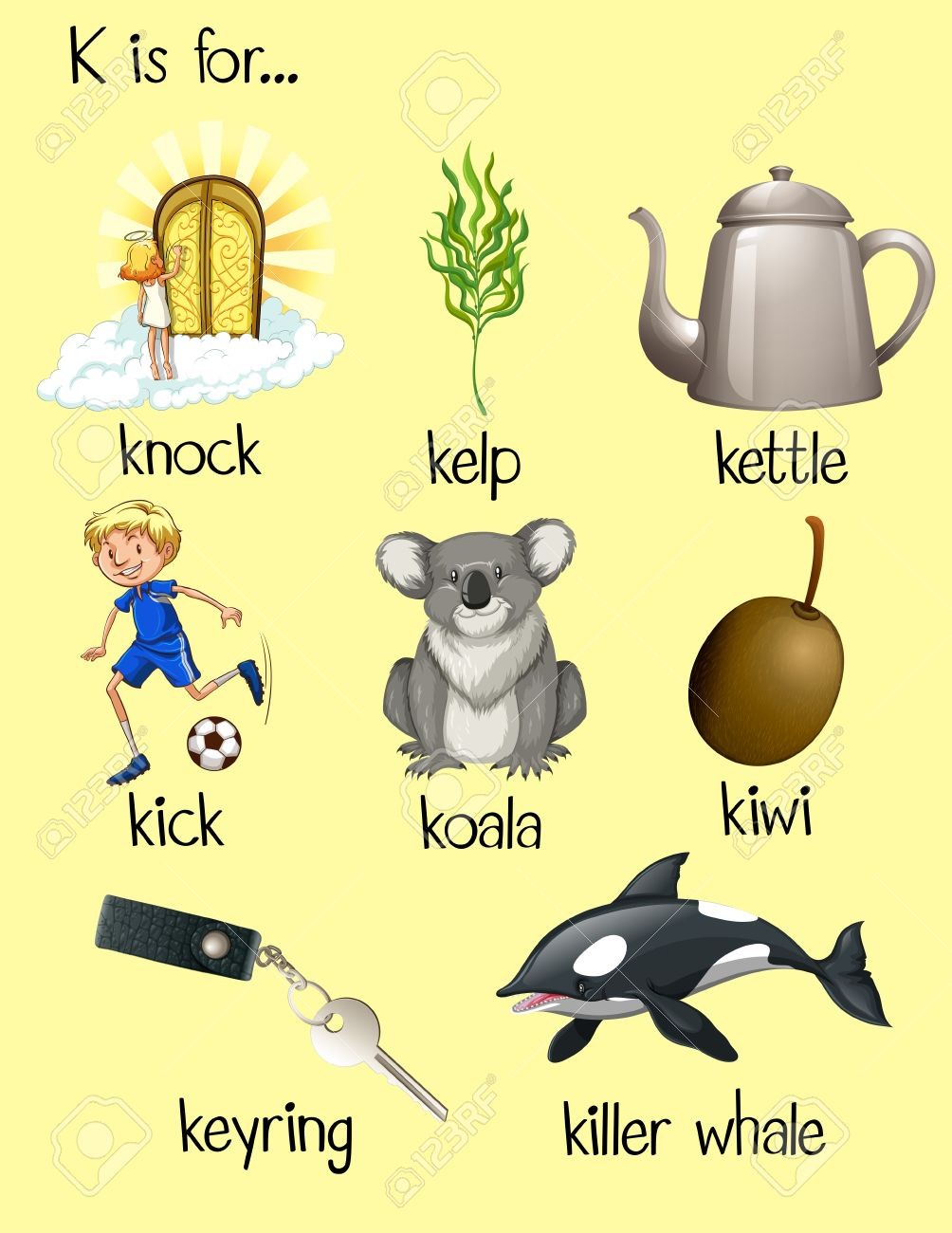 Many Words Begin With Letter K Illustration Royalty Free Cliparts