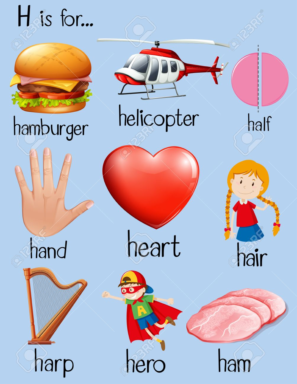 Many Words Begin With Letter H Illustration Royalty Free Cliparts
