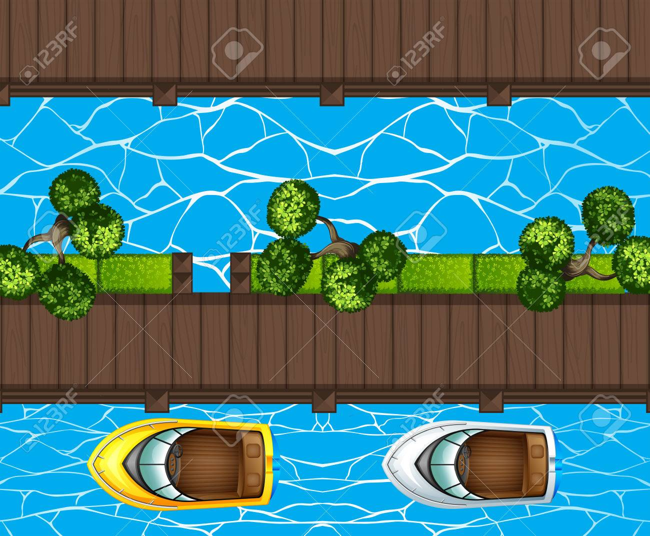 Top view of boats parking at the pier illustration - 57354877