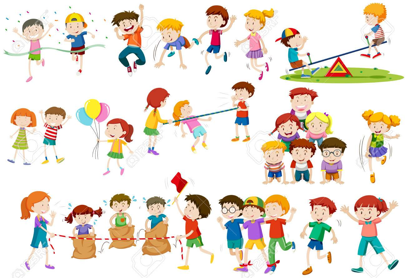 Vettoriale Bambini Che Giocano Diversi Giochi E Attività