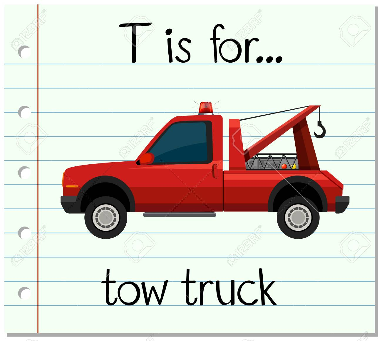 flashcard letter t is for tow truck illustration royalty free rh 123rf com free tow truck graphics tow truck graphic design