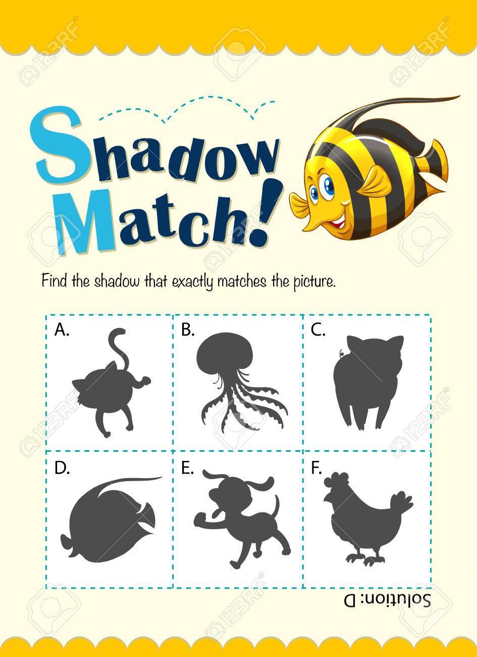 Spiel-Vorlage Für Schatten Matching Fisch Illustration Lizenzfrei ...