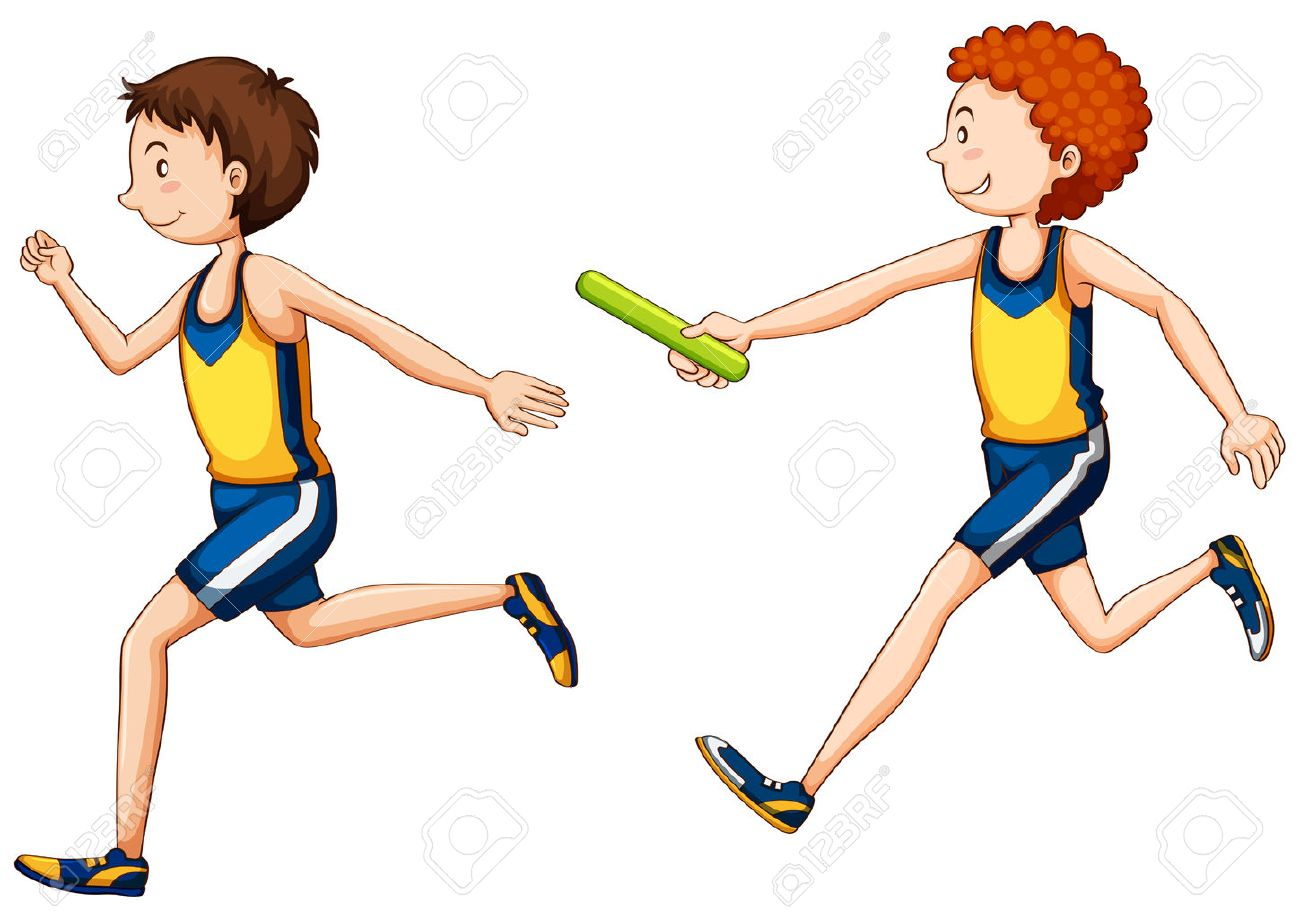 Two running doing relay race illustration - 58406738