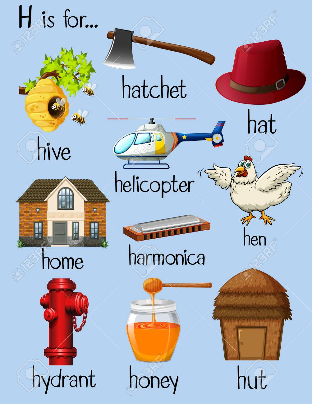 Many Words For Letter H Illustration Royalty Free Cliparts