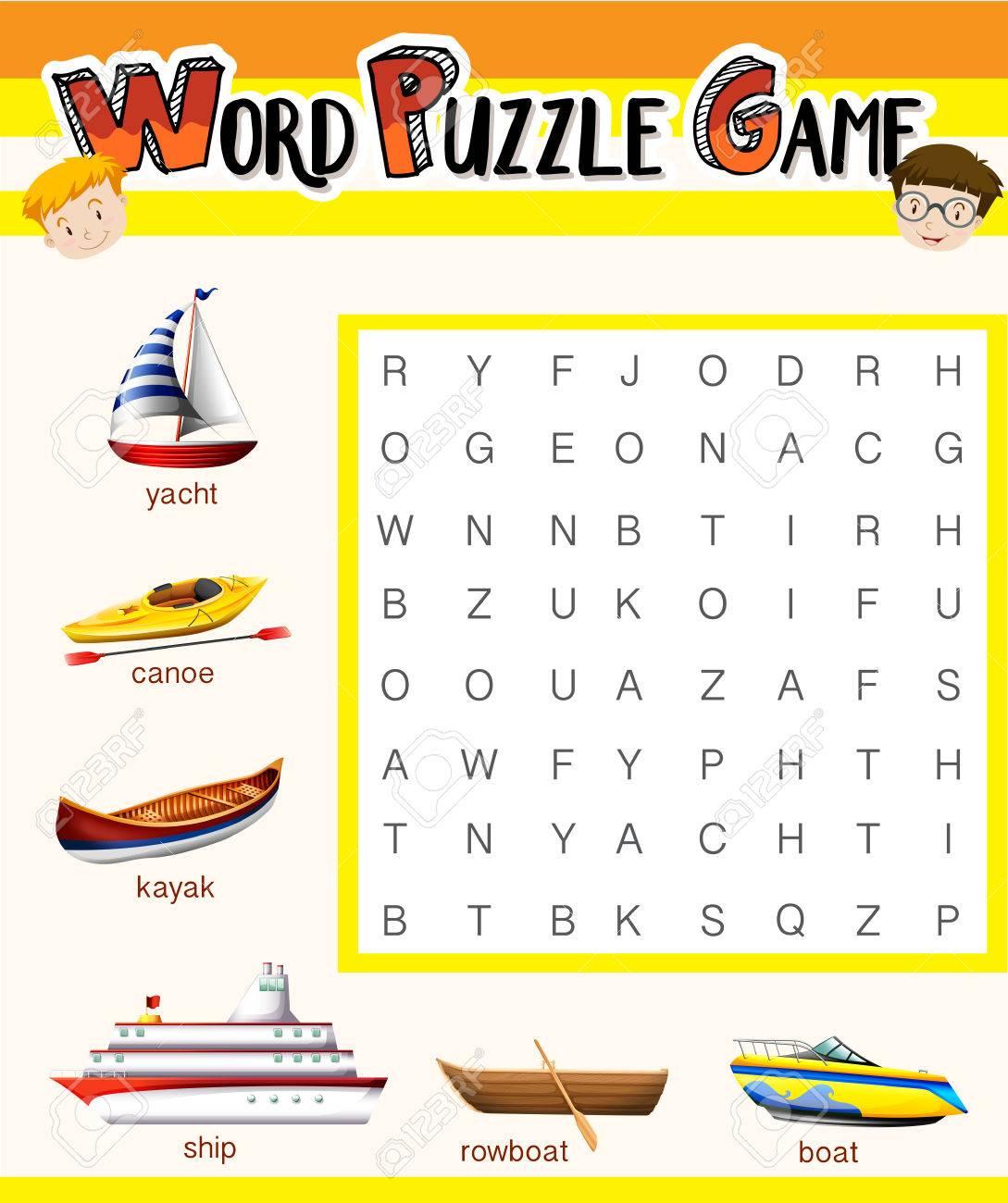 Word-Puzzle-Spiel-Vorlage Mit Wassertransporte Illustration ...