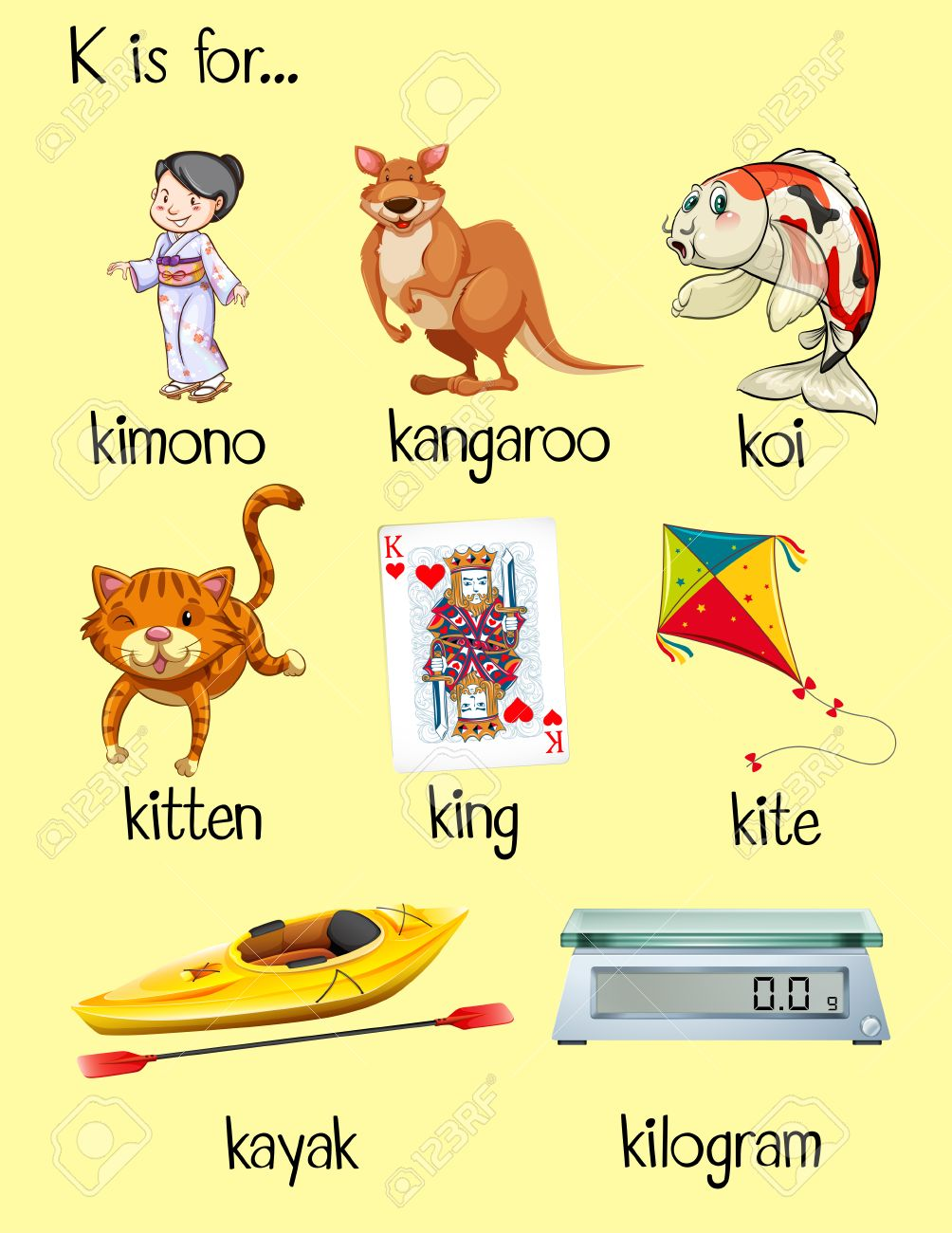 Many Words Start With Letter K Illustration Royalty Free Cliparts
