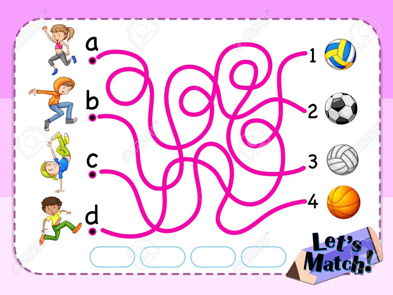Game template with matching kids and sport illustration - 59361944