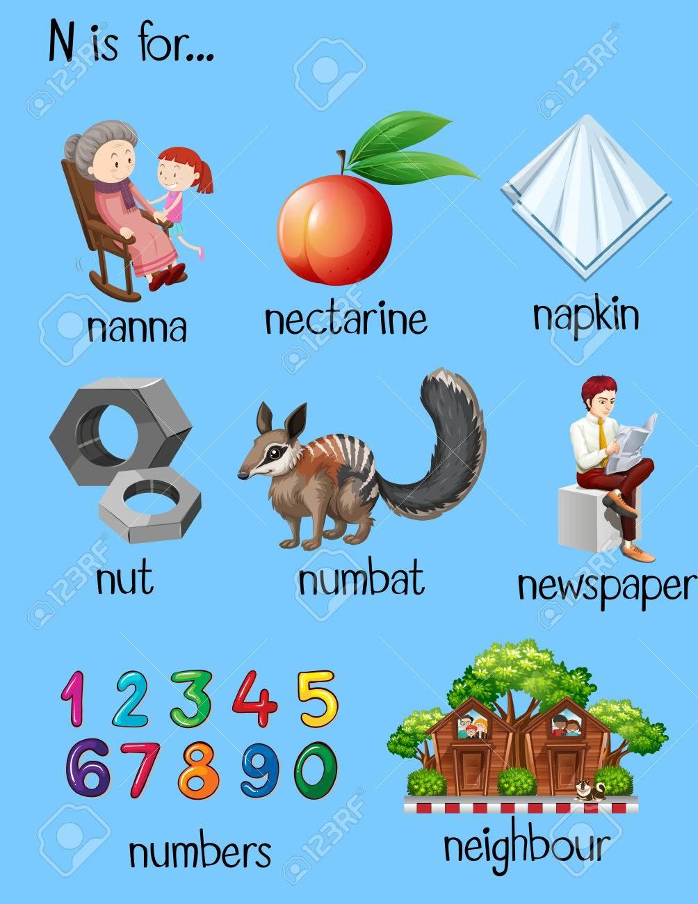 Different words for letter N illustration - 59887613