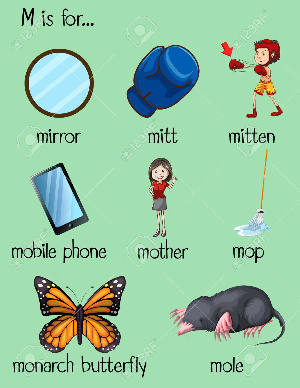 Many Words Begin With Letter M Illustration Royalty Free Cliparts