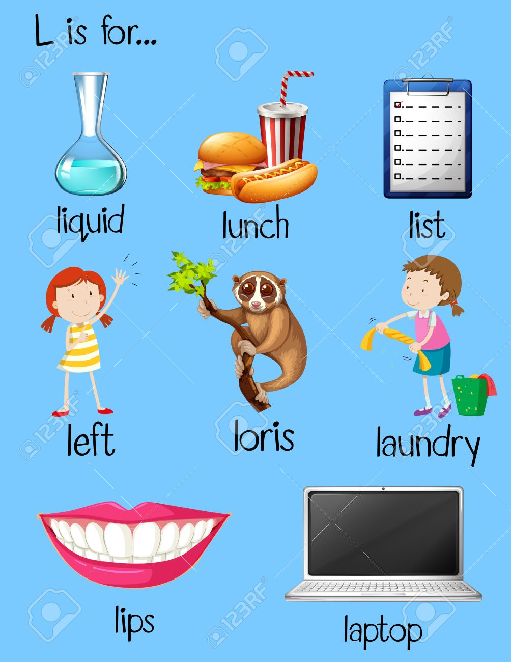 many words begin with letter l illustration royalty free cliparts