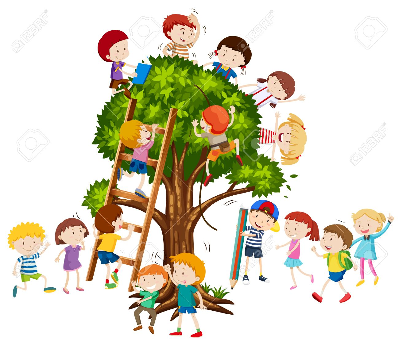 Children Climbing Up The Tree Illustration Royalty Free Cliparts