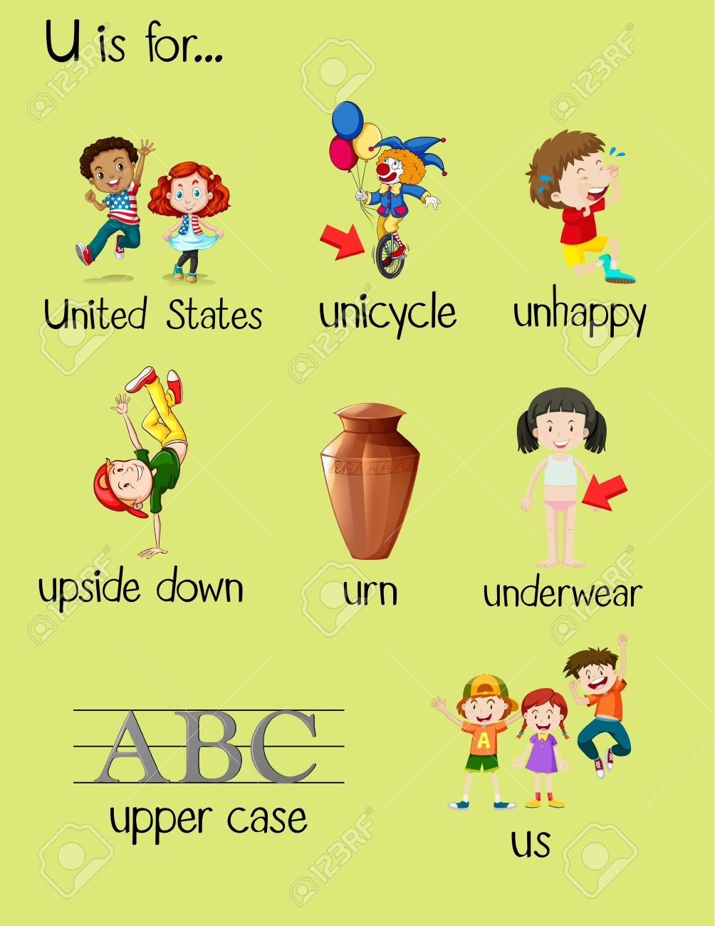 many words begin with letter u illustration royalty free cliparts