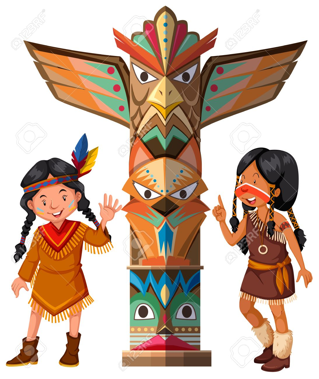 two red indians and totem pole illustration royalty free cliparts rh 123rf com  totem pole clipart black and white