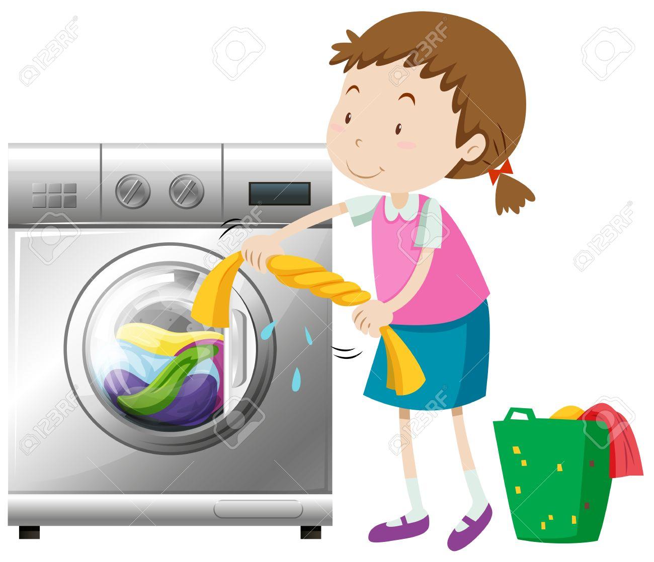 Girl doing laundry with washing machine illustration - 60662318