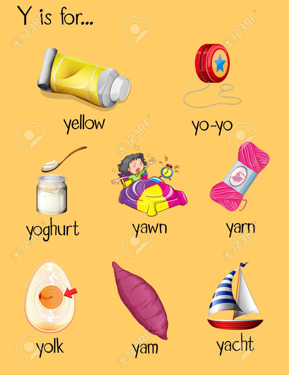 Many Words Begin With Letter Y Illustration Royalty Free Cliparts