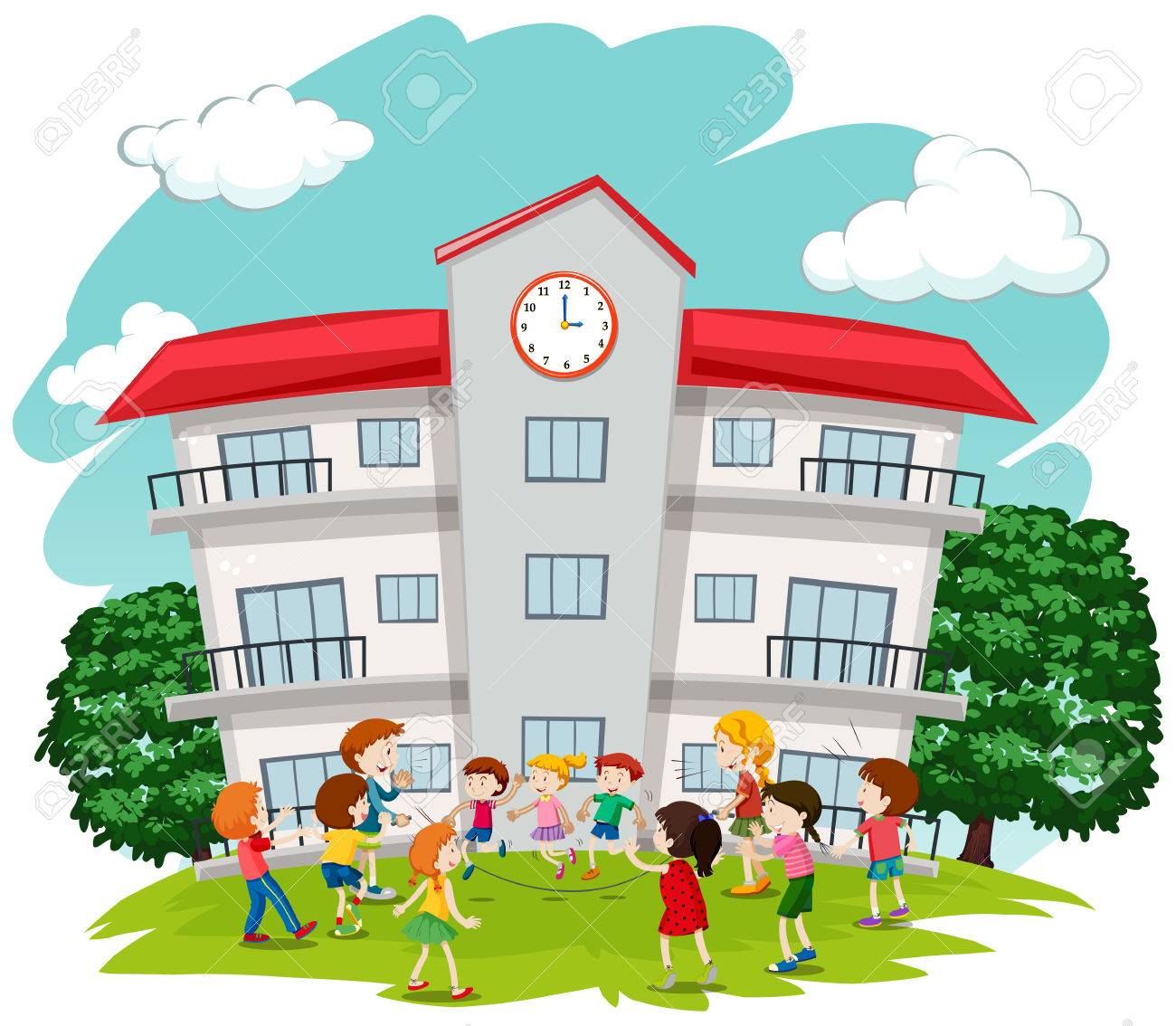 Children Playing In Front Of School Illustration Royalty Free Cliparts Vectors And Stock Illustration Image 61179912