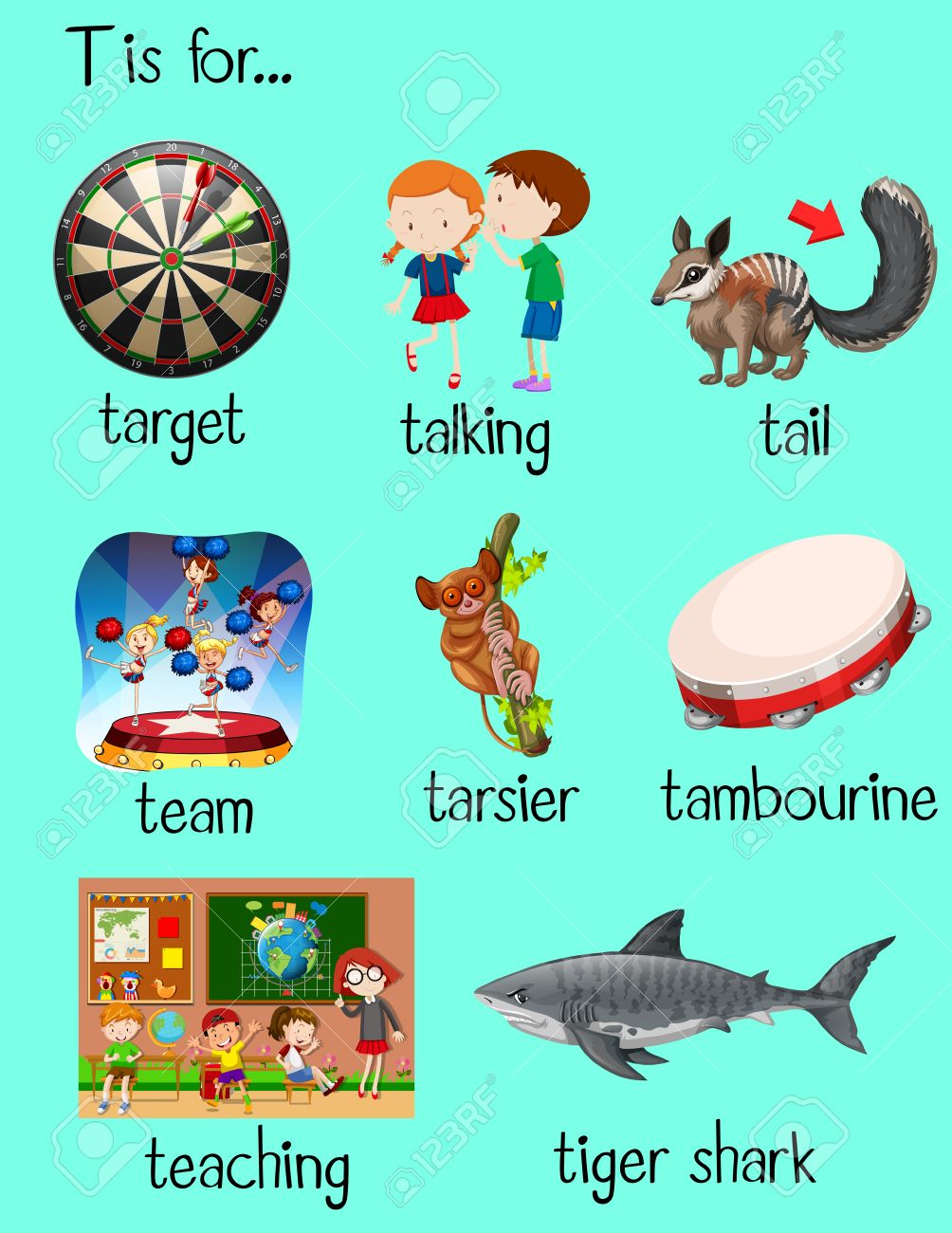 Many Words Begin With Letter T Illustration Royalty Free Cliparts