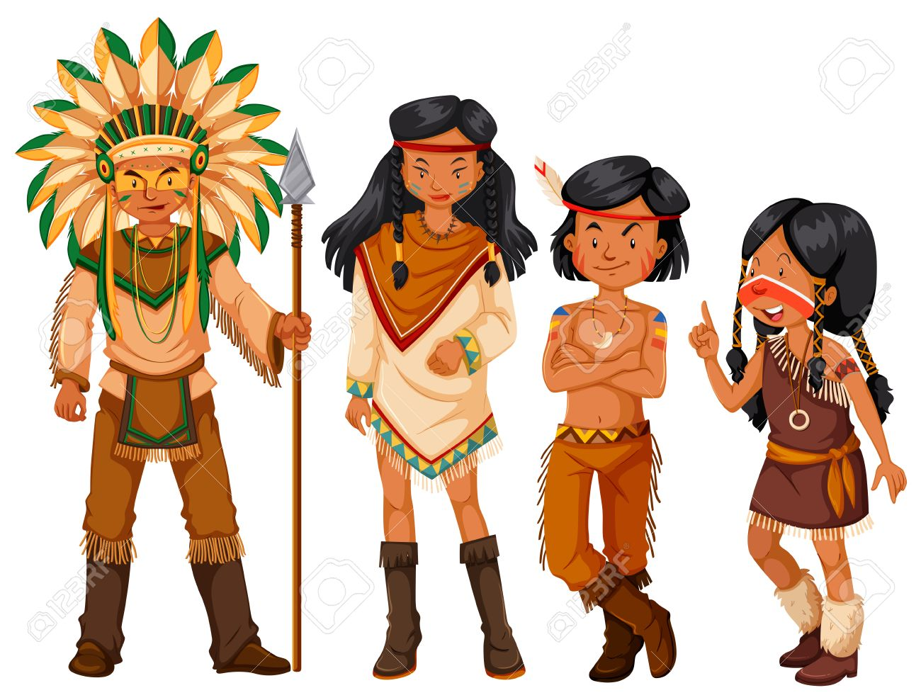 group of native american indians in costume illustration royalty rh 123rf com indiana clipart indian clipart