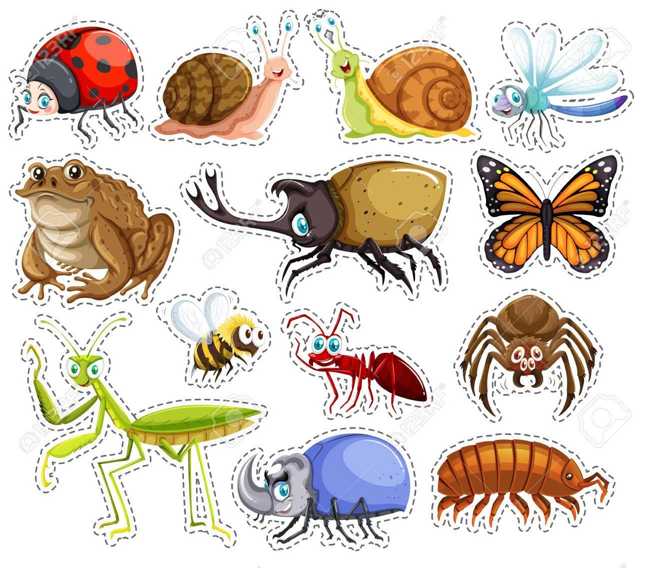 多くの昆虫のイラストのステッカー セットのイラスト素材ベクタ