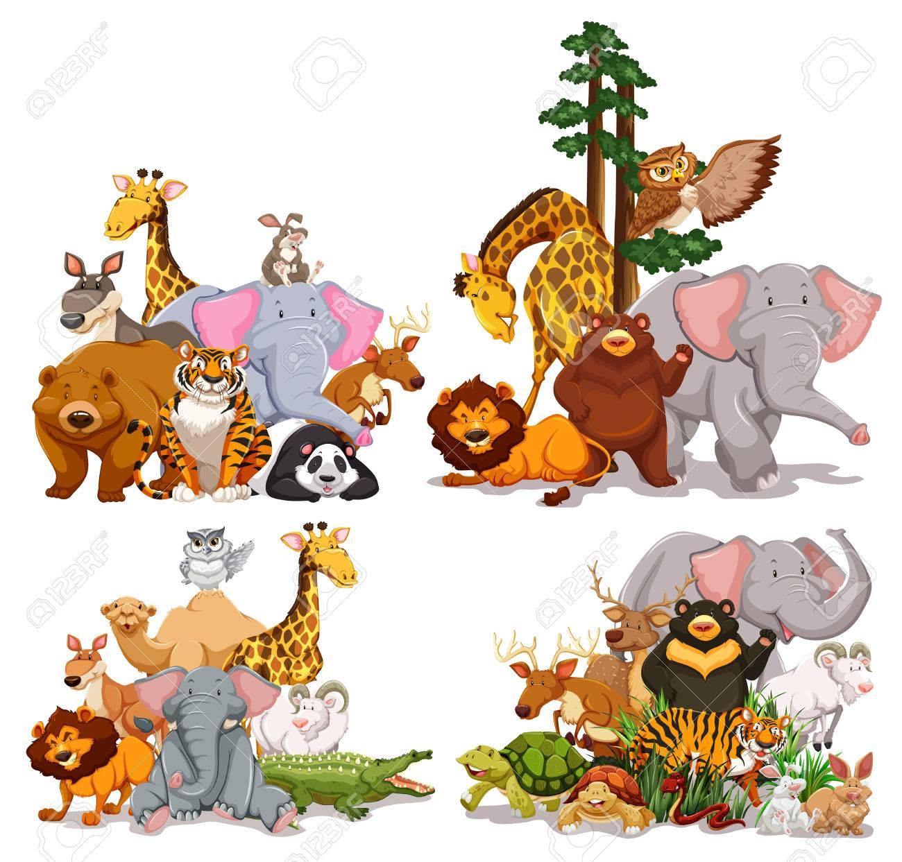 さまざまな種類の動物イラストのグループ ロイヤリティフリークリップ