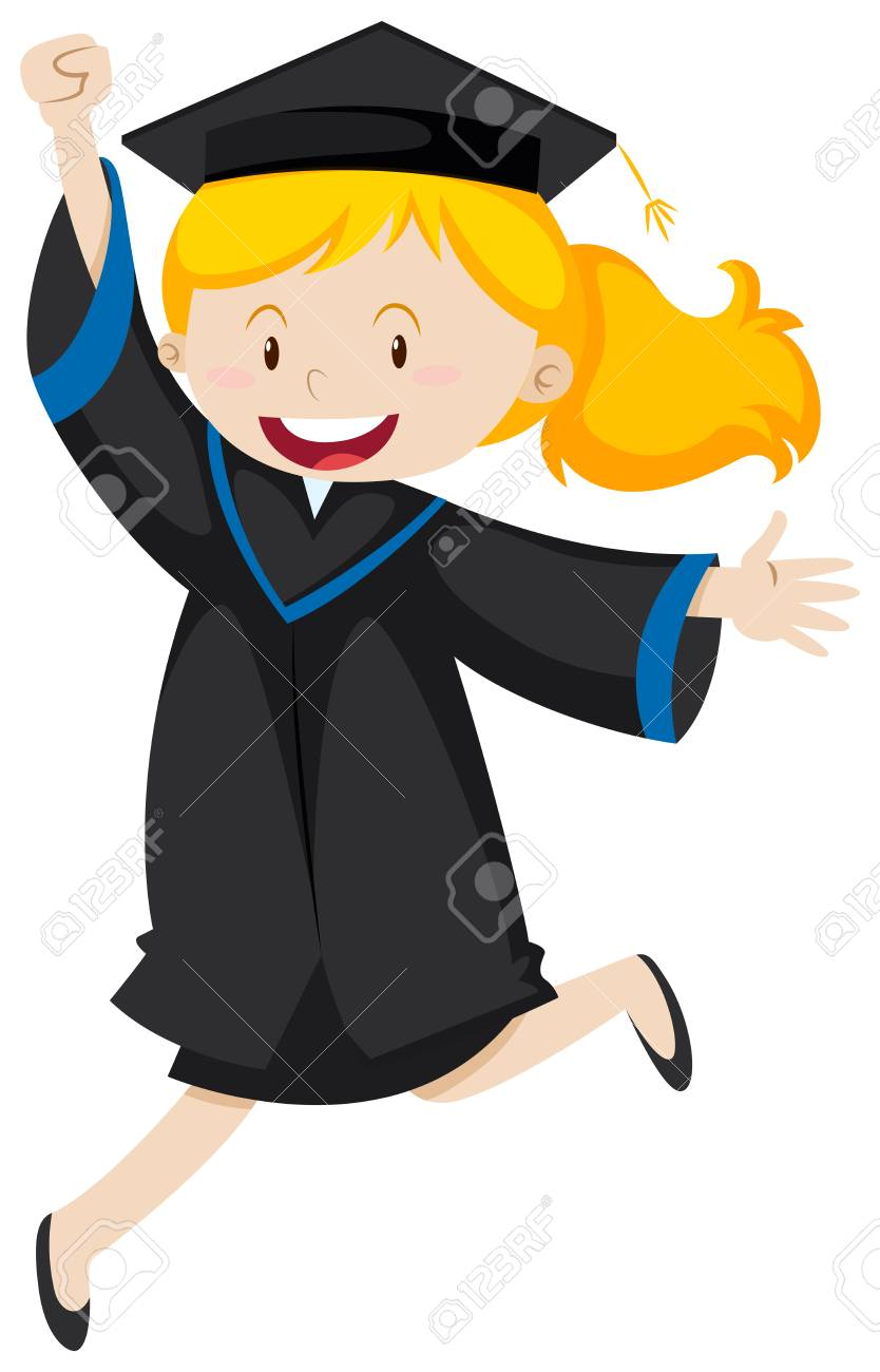 girl in black graduation gown illustration royalty free cliparts rh 123rf com cap and gown clipart free cap and gown diploma clipart