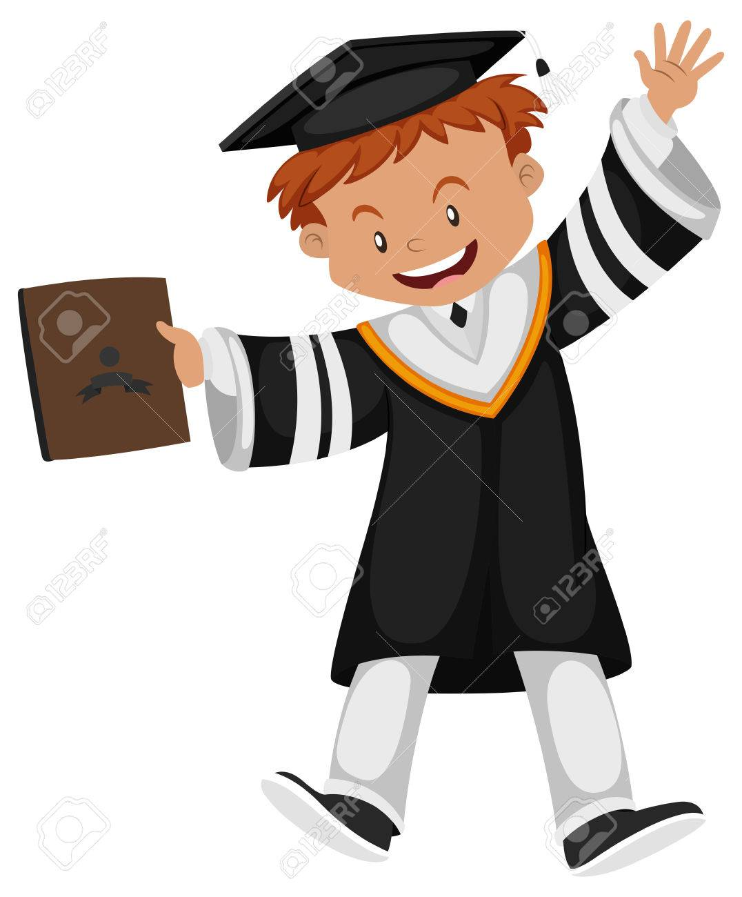 Man In Black Graduation Gown Illustration Royalty Free Cliparts ...
