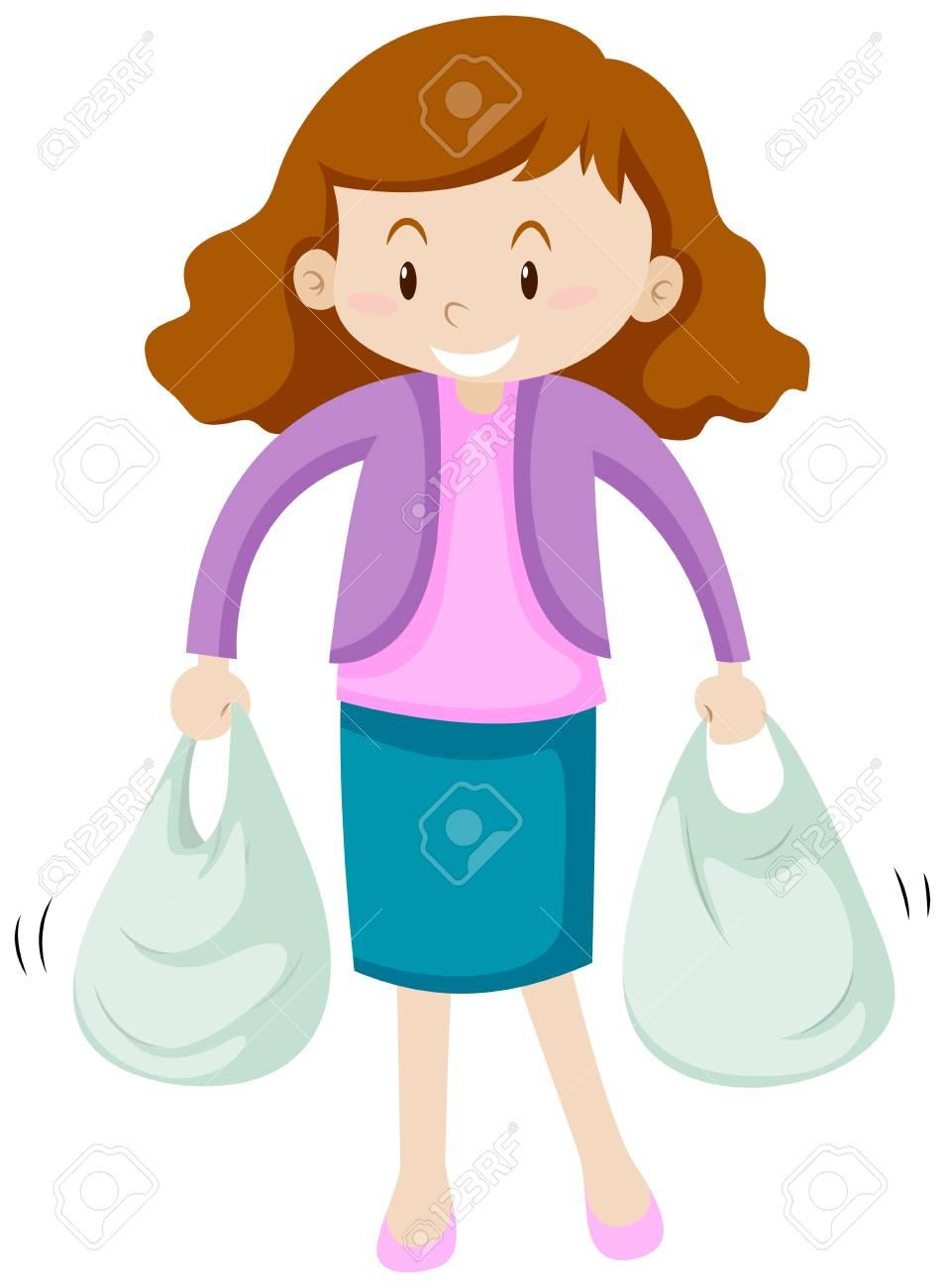 Dos Bolsas Mujer Con Compras Ilustración De 8On0Nvmw