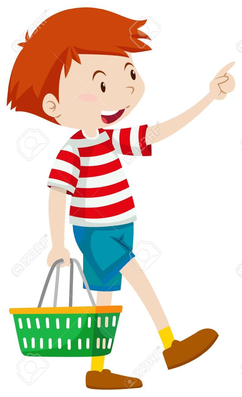 Niño Pequeño Con La Cesta De La Ilustración Ilustraciones ... 3ba2688dcd9