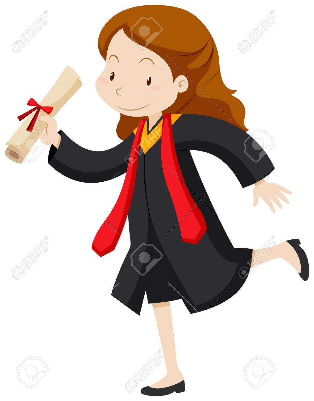Woman In Graduation Gown Holding Degree Illustration Royalty Free ...