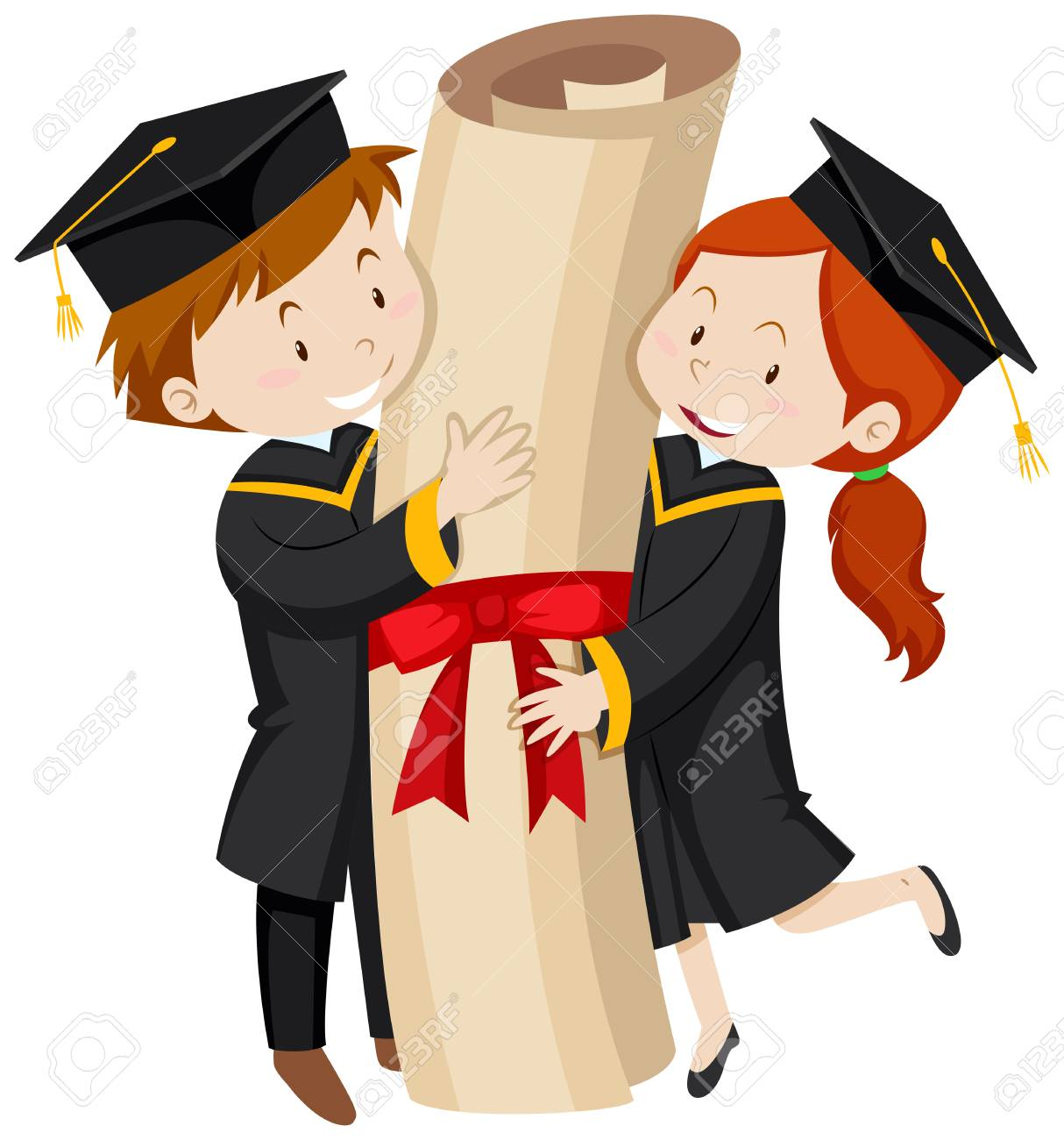 Man And Woman In Graduation Gown Illustration Royalty Free Cliparts ...