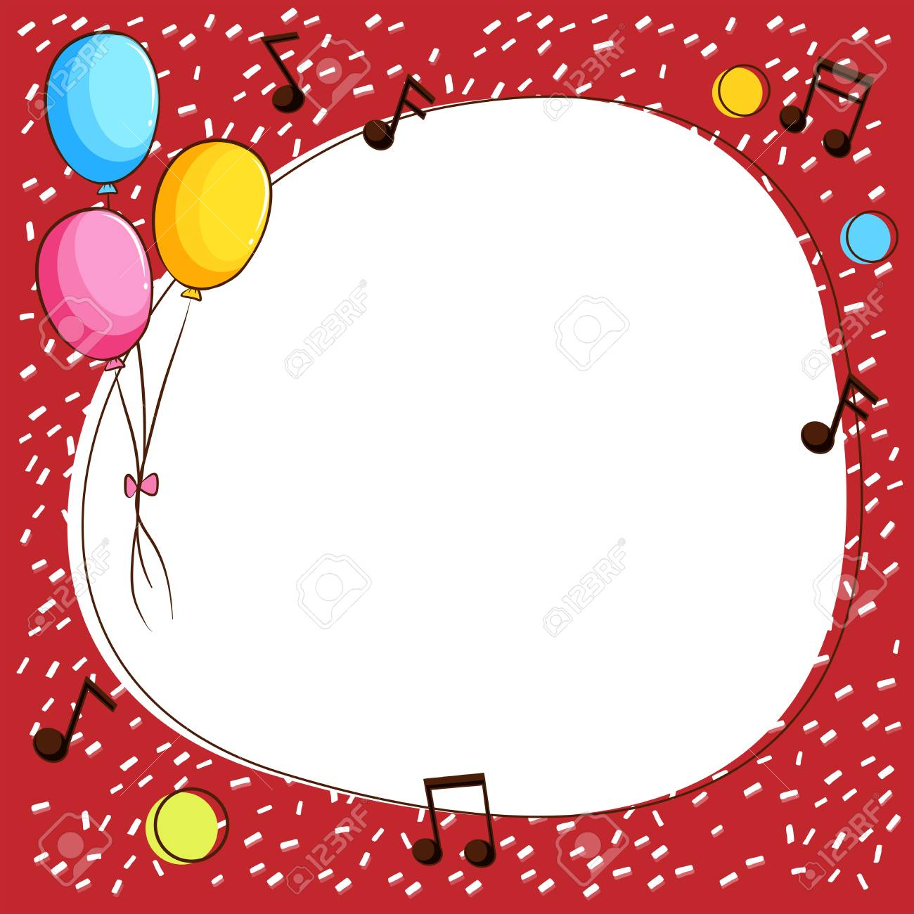 border template with balloons and music notes illustration royalty