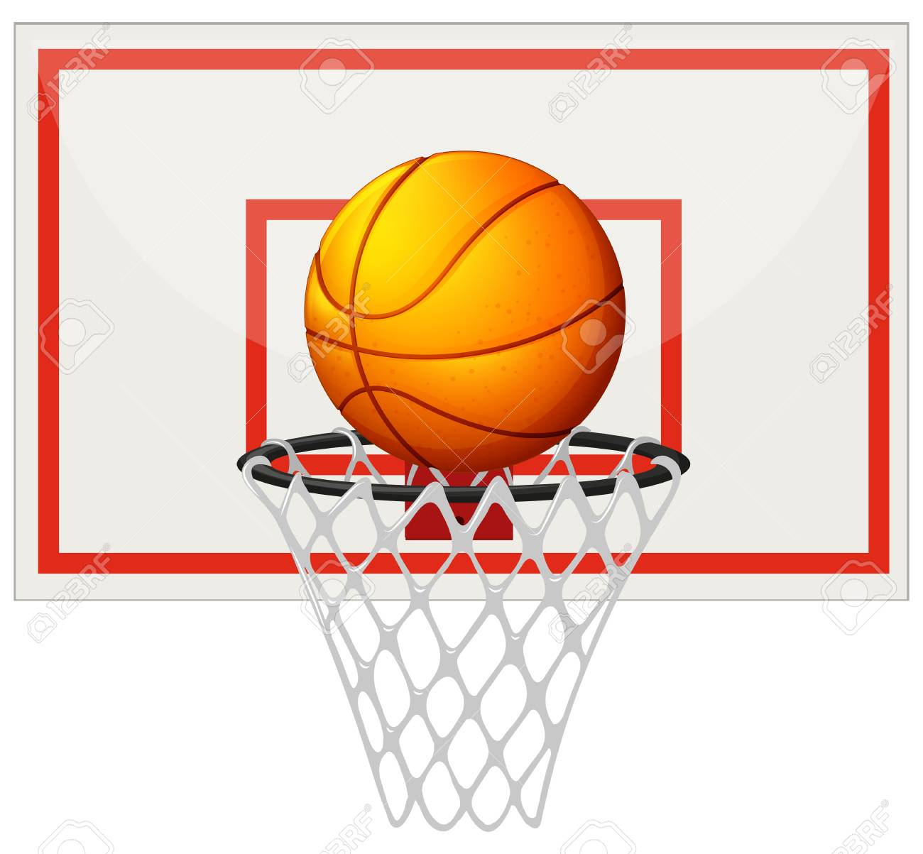 Basketball With Basketball Board And Net Illustration Royalty Free