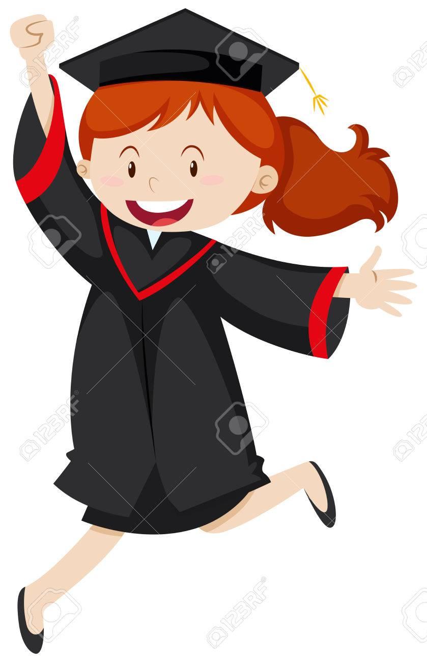 happy woman in graduation gown illustration royalty free cliparts rh 123rf com kindergarten cap and gown clipart kindergarten cap and gown clipart